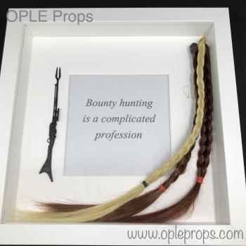 OPLE Arts Picture Frame The Mandalorian with Wookie Braids Bounty Hunter Bounty hunting is a complicated profession Prop Model Blaster