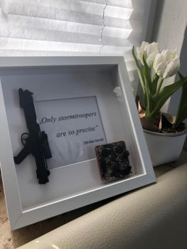 OPLE Arts picture frame Stormtrooper Only stormtroopers are so precise Obi-Wan Kenobi Prop rankbar Weapon Blaster Model