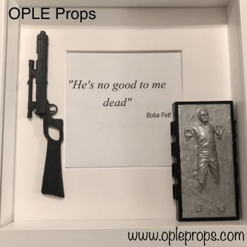 OPLE Arts picture frame Boba Fett Bounty Hunter He is no good to me dead Prop bobafett Han Solo in Carbonite Weapon Blaster Model